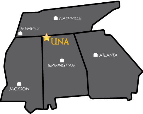 Map of University of North Alabama Campus