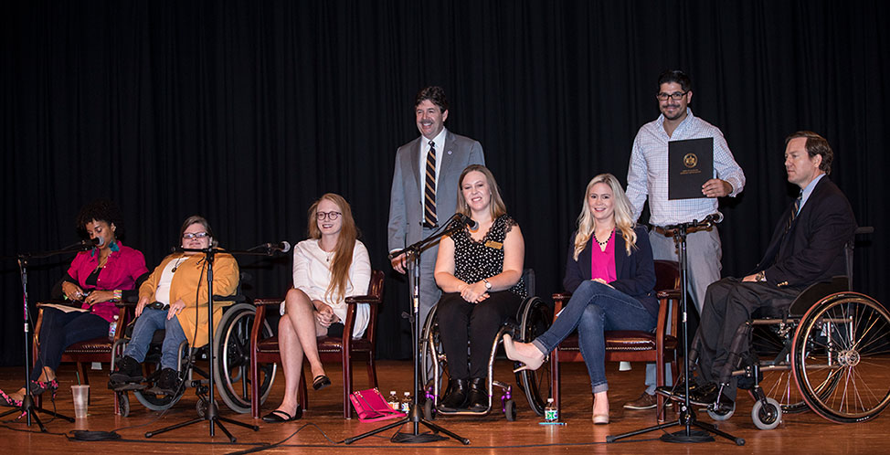 UNA students participating in the Disability Support Services Panel Discussion last year alongside Dr. Graham Sisson, Jeremy Martin, and President Kitts.