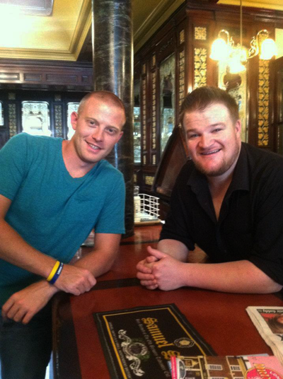 Rob Weaver (left) stands with Ryan, a bartender at the Princess Louise pub.