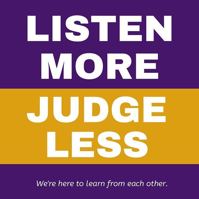 listen more judge less quote graphic