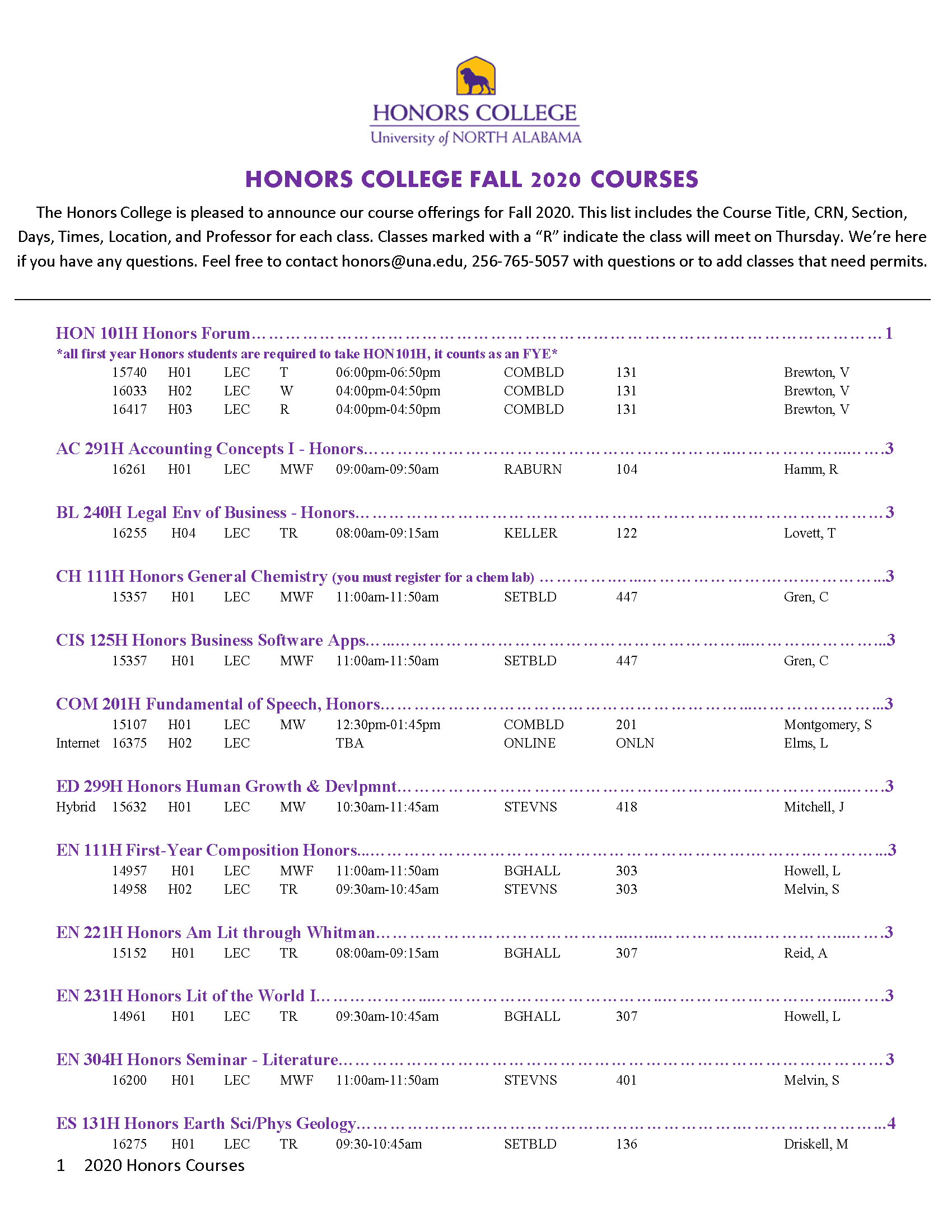 Honors Fall Courses