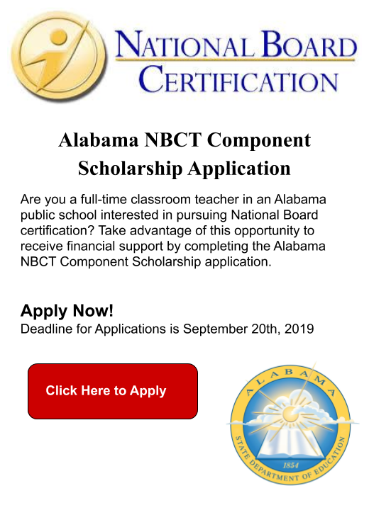 Image hyperlinks to Alabama NBCT SCHOLARSHIP APPLICATION