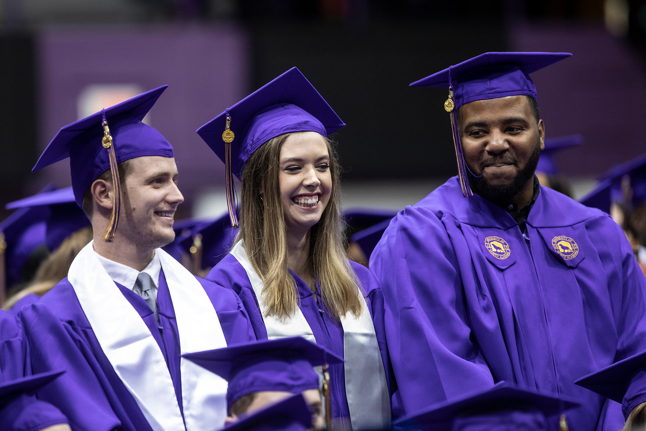 Students at the University of North Alabama commencement ceremony.