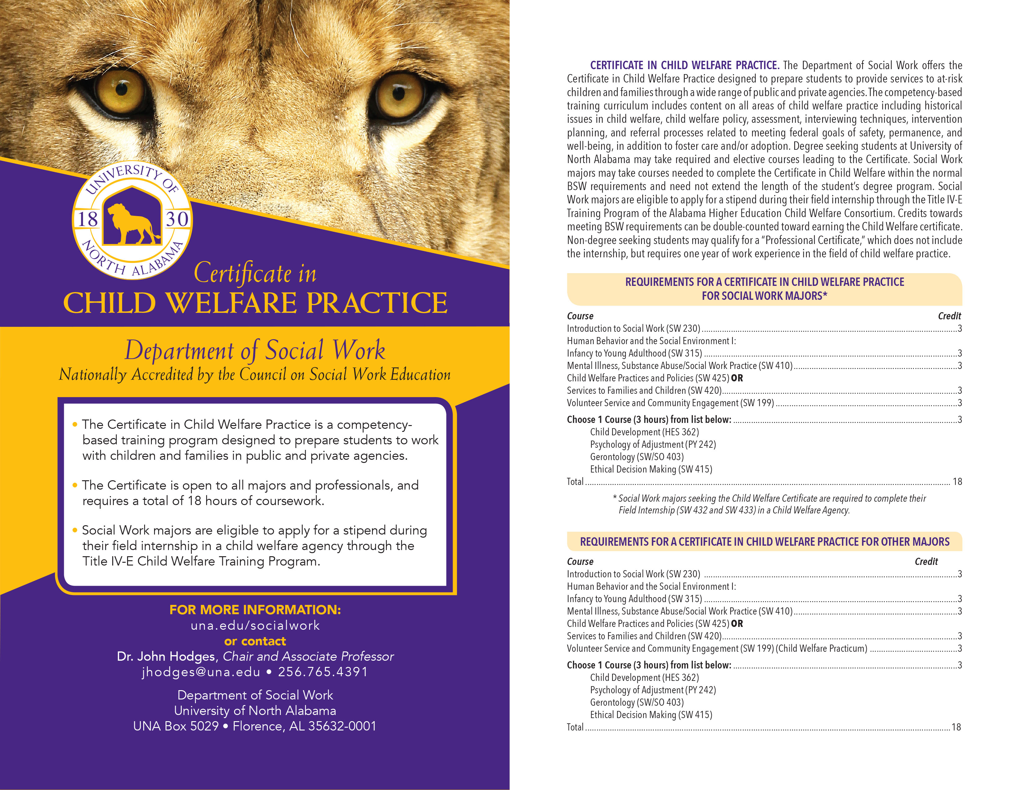 Child welfare certificate university of north alabama click here to see our brochure xflitez Choice Image