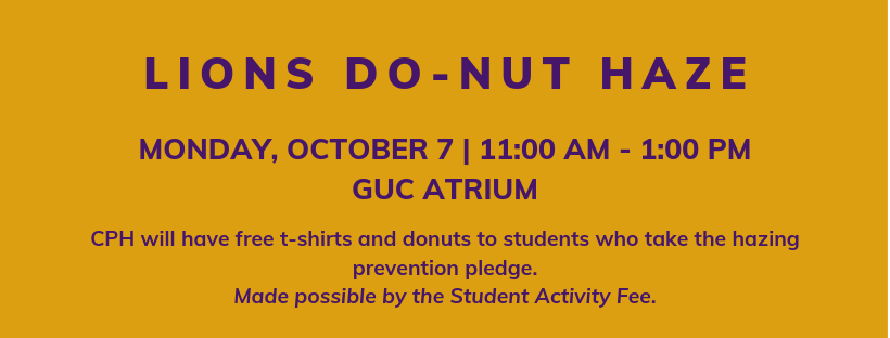 Lions donut haze- monday, october 7 at 11am in the GUC
