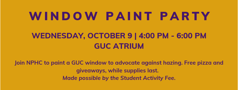 Window paint party October 8 at 4pm in GUC atrium