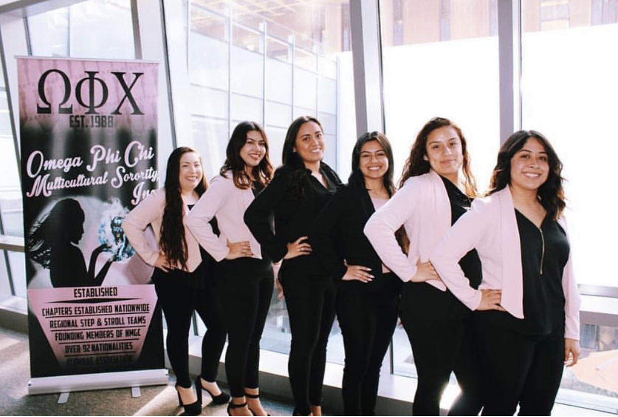 Women stand in front of an Omega Phi Chi banner in black outfits with pink cardigans on.