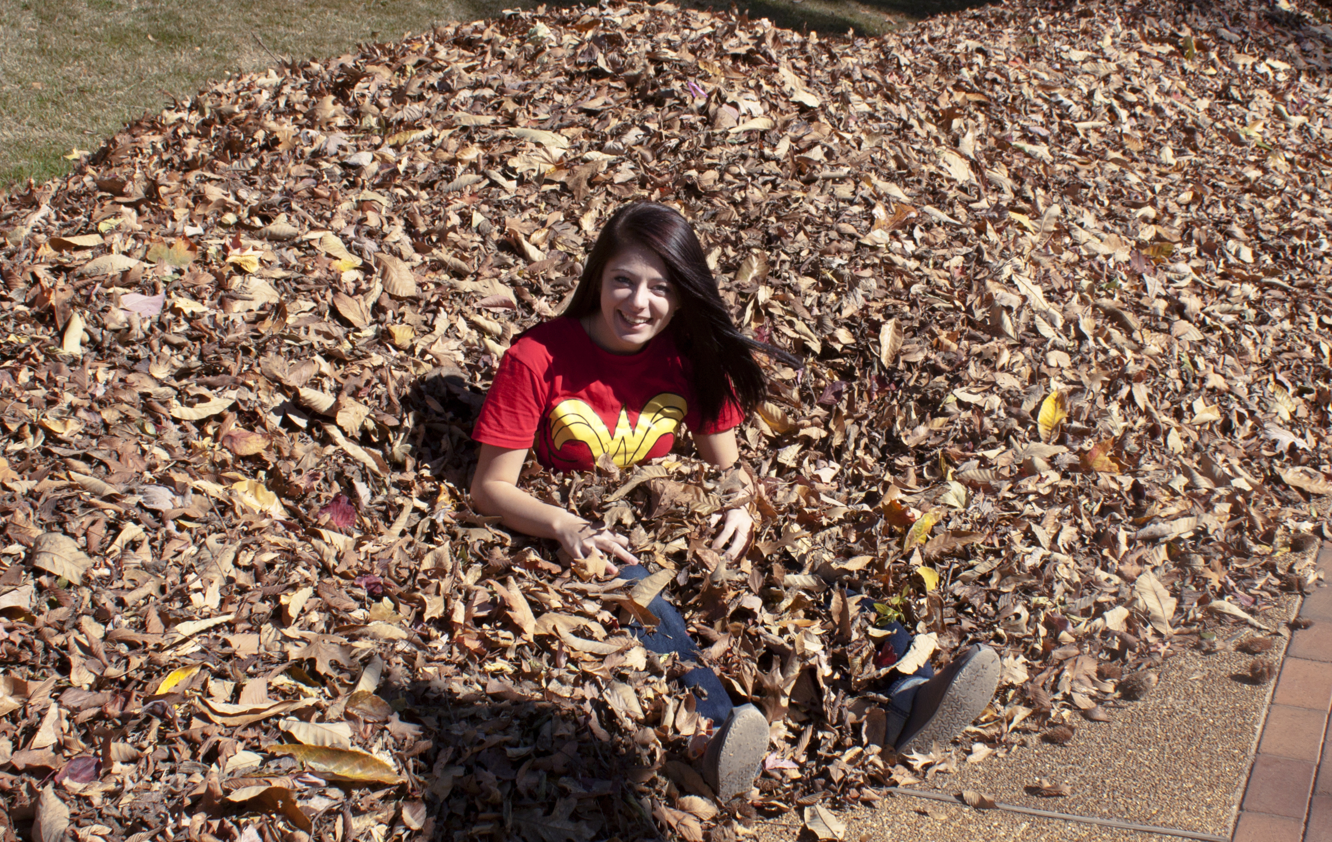 Student sitting in leaves