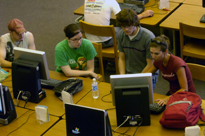 team of students at computer