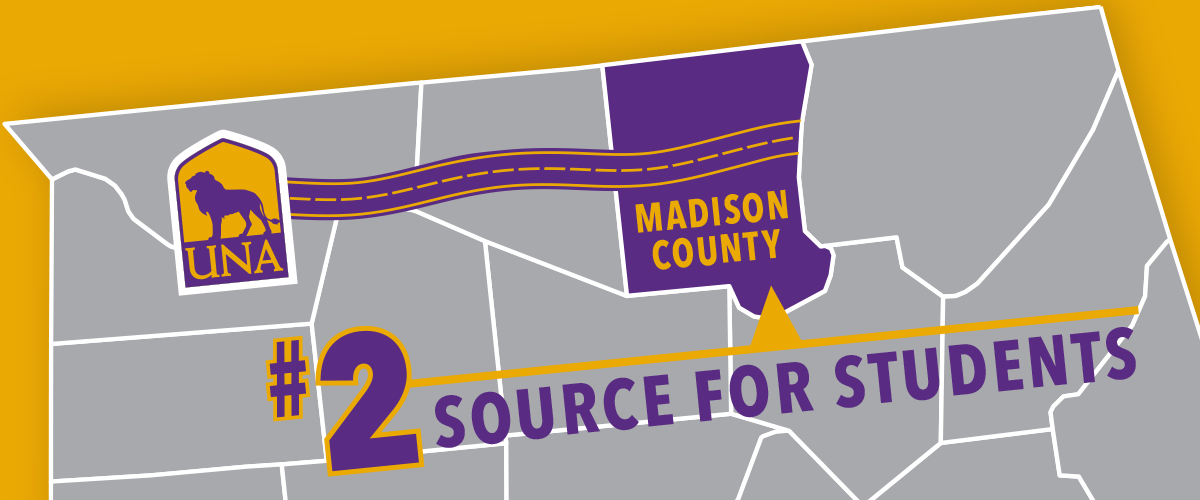 Madison County is the 2nd largest source of UNA students